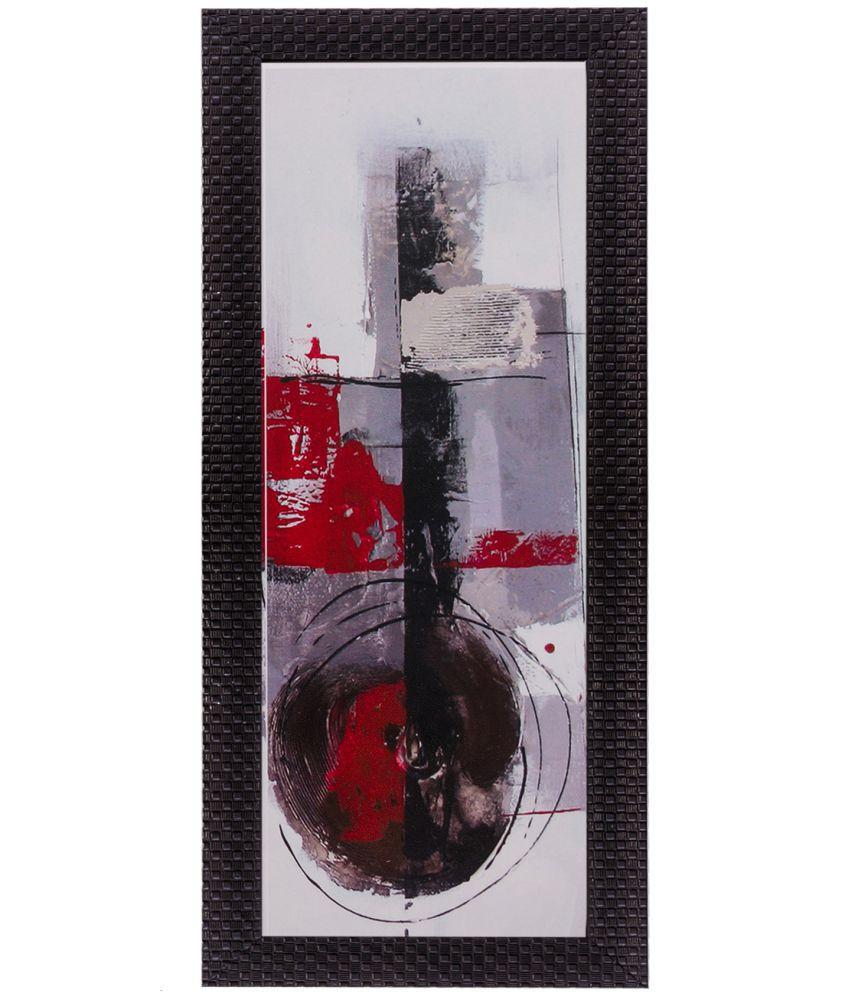 eCraftIndia Botanical Floral Design Satin Matt Texture Framed UV Art Wood Painting With Frame Single Piece