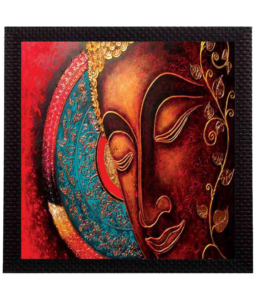 eCraftIndia Lord Buddha Satin Matt Texture UV Art Wood Painting With Frame Single Piece