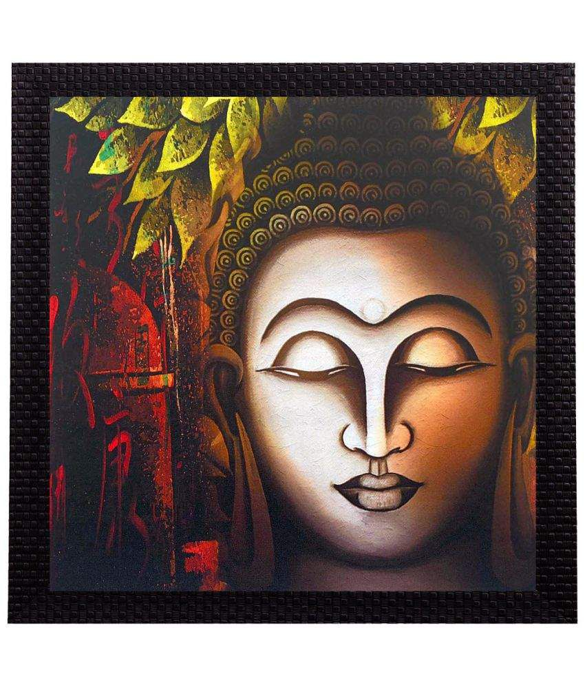 Ecraftindia Face Of Buddha Satin Matt Texture UV Art  Multicolor Wood Painting With Frame Single Piece