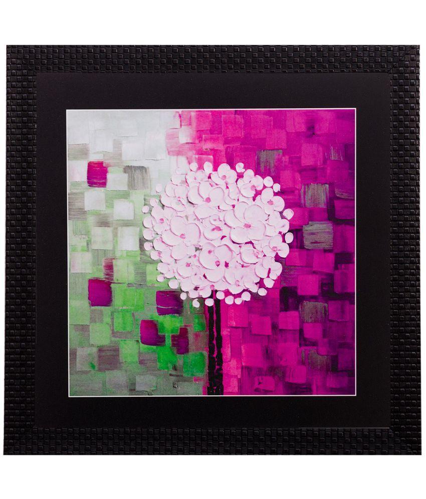 eCraftIndia Abstract Design Satin Matt Texture Wood Painting With Frame Single Piece