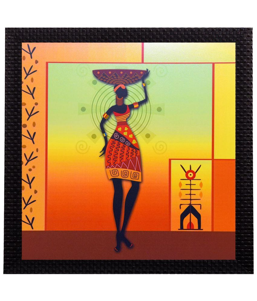 eCraftIndia Colorful Tribal Woman Satin Matt Texture UV Art Wood Painting With Frame Single Piece