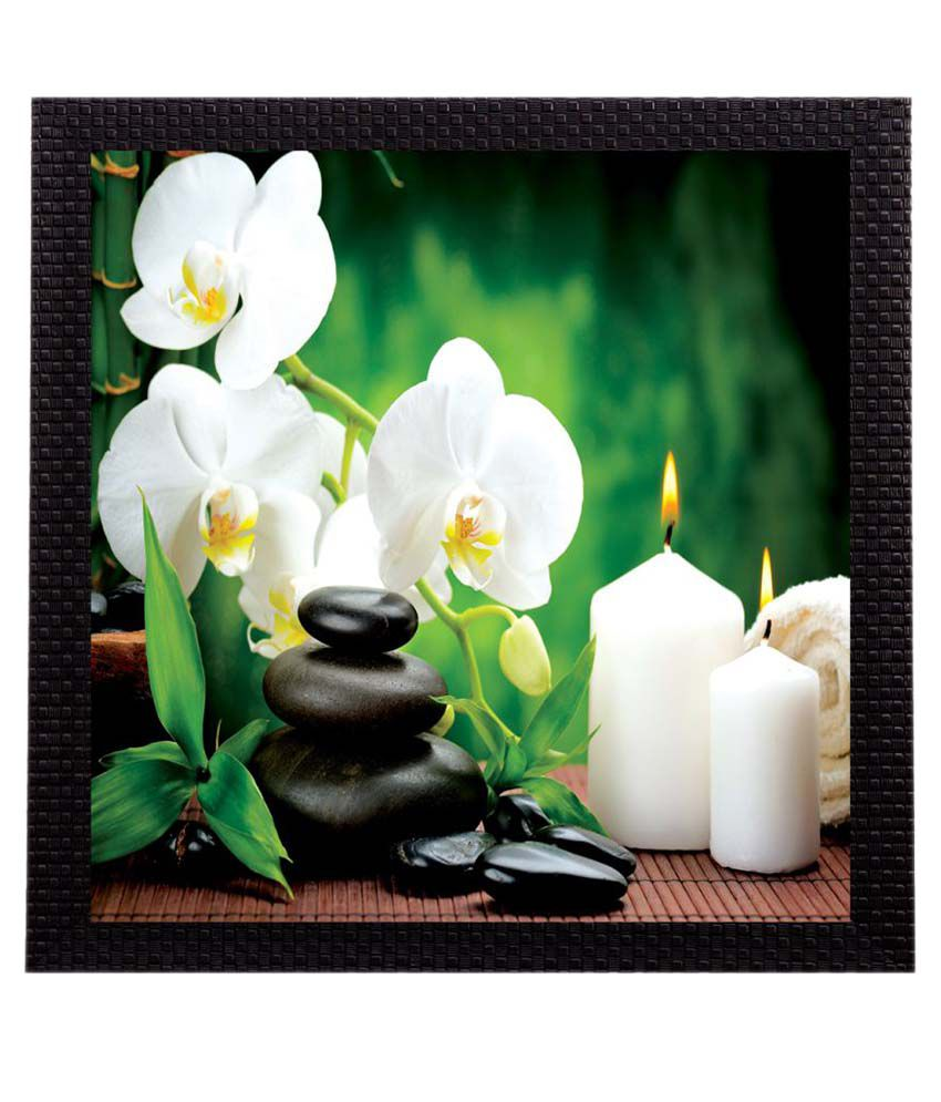 eCraftIndia Flower and Candle Wood Painting With Frame Single Piece