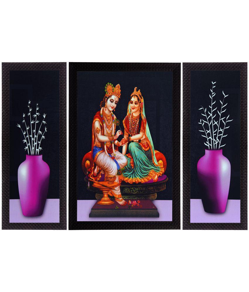 eCraftIndia  Lord Krishna Radha and Flowers Satin Matt Texture UV Art  Multicolor Wood Painting With Frame Set of 3