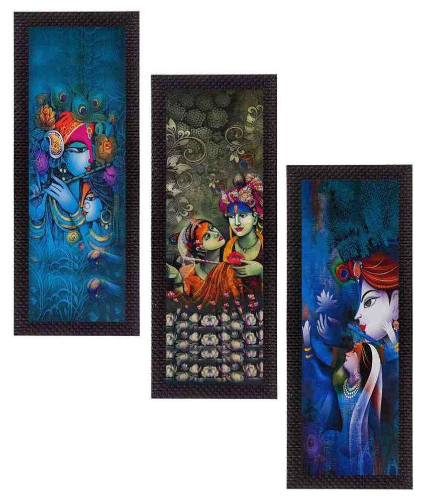 EcraftIndia  Lord Krishna and Lordess Radha Satin Matt Texture UV Art  Multicolor Wood Painting With Frame Set of 3