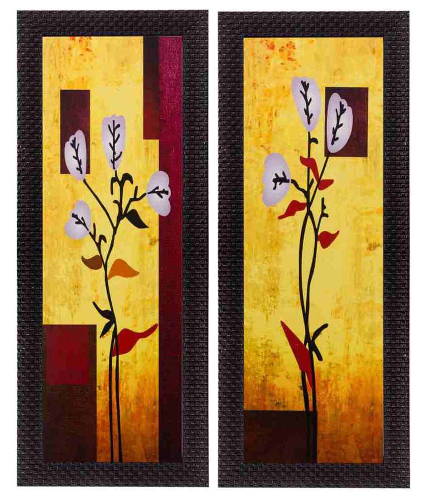 eCraftIndia  Botanical Design Satin Matt Texture Framed UV Art  Multicolor Wood Painting With Frame Set of 2