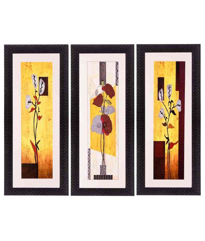 eCraftIndia Fine Finish Matt Textured UV Art Print  Multicolor Wood Painting With Frame Set of 3