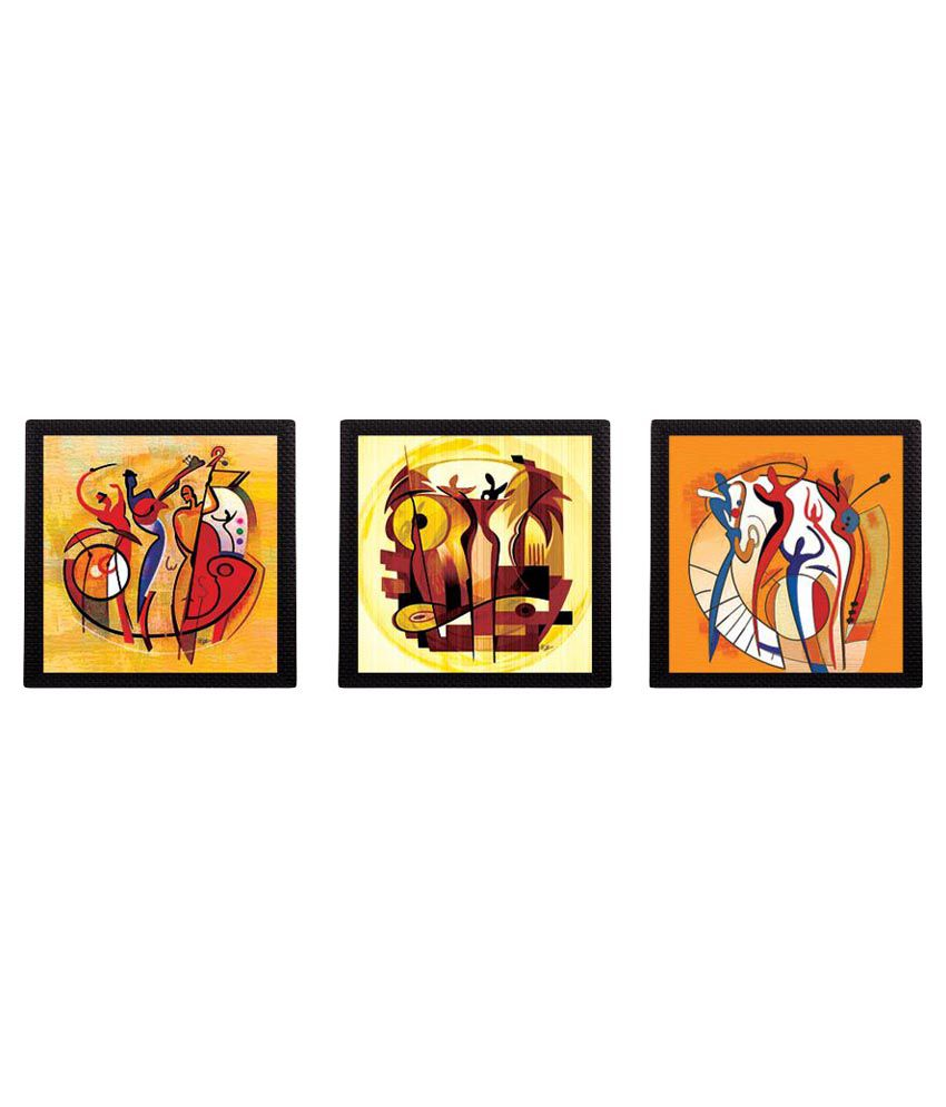 eCraftIndia Abstract Design Satin Matt Texture UV Art Wood Painting With Frame Set of 3