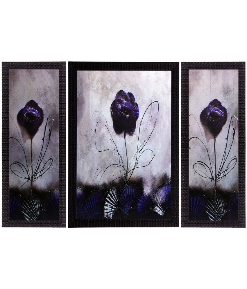 eCraftIndia Glossy Purple Satin Matt Texture UV Art Wood Painting With Frame Set of 3
