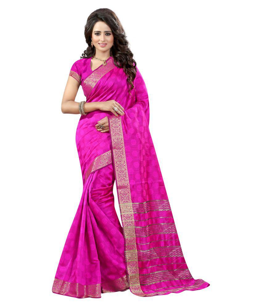 B4best Creation Pink Cotton Silk Saree