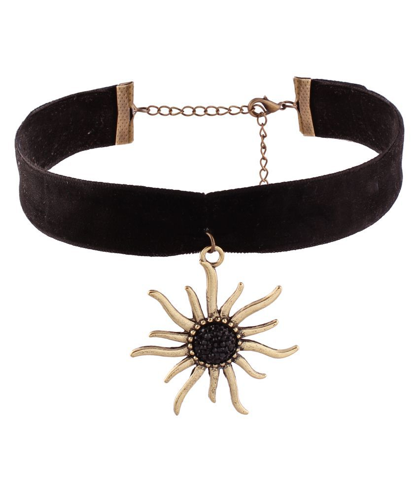 Jazz Jewellery Black Lace Choker Necklace with Sun Pendent