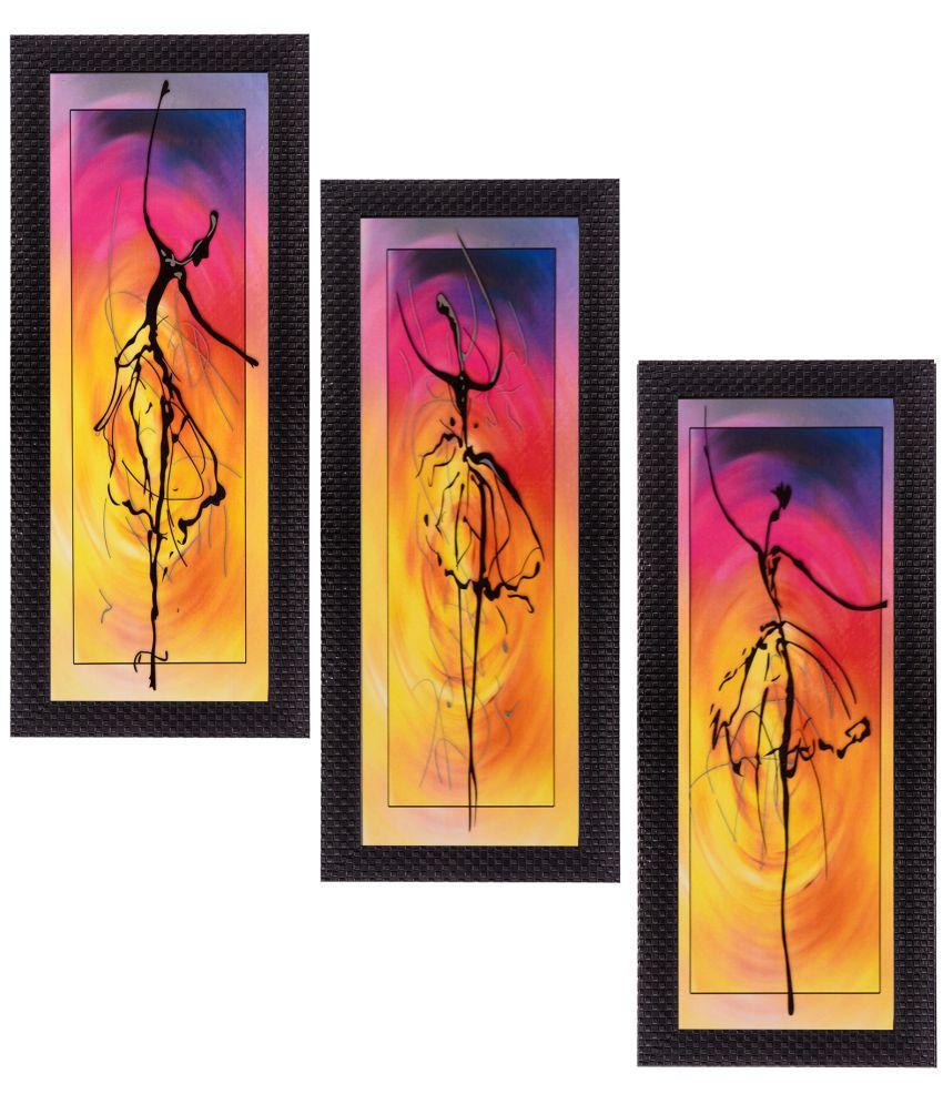 eCraftIndia Fine Finish Matt Textured UV Art Print Wood Painting With Frame Set of 3