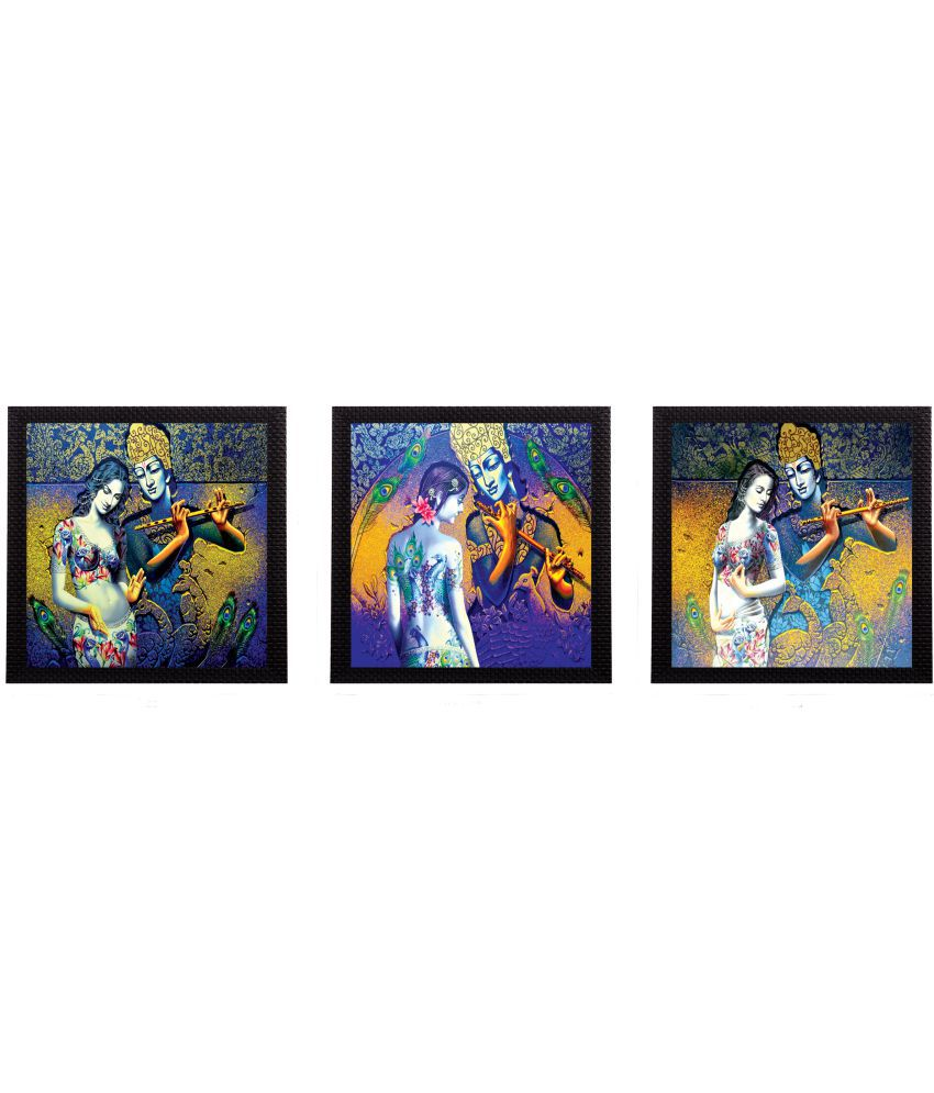 eCraftIndia Radha- Krishna Satin Matt Texture UV Art Wood Painting With Frame Set of 3