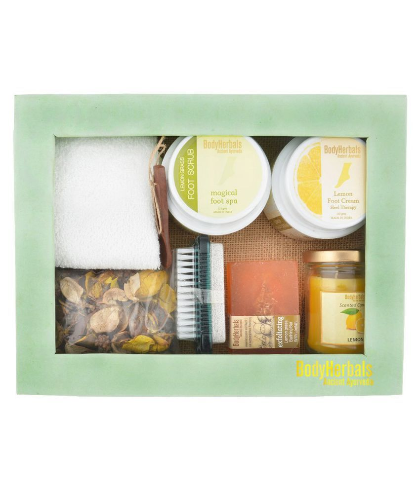 BodyHerbals Lemongrass Foot Spa Set Exfoliating Bath Kit Pack of 8