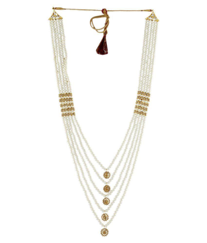 318251faf1618 Anuradha Art White Traditional Necklace Groom Moti Mala For Men