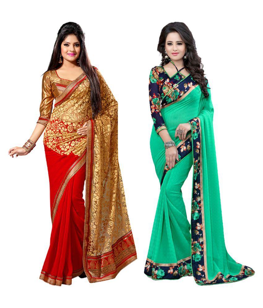 Online Bazaar Multicoloured Cotton Saree Combos