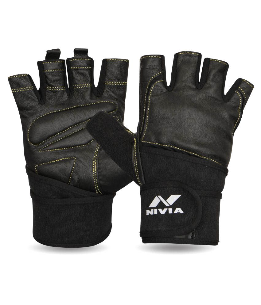Nivia Black Gym Gloves-709s gym equipment
