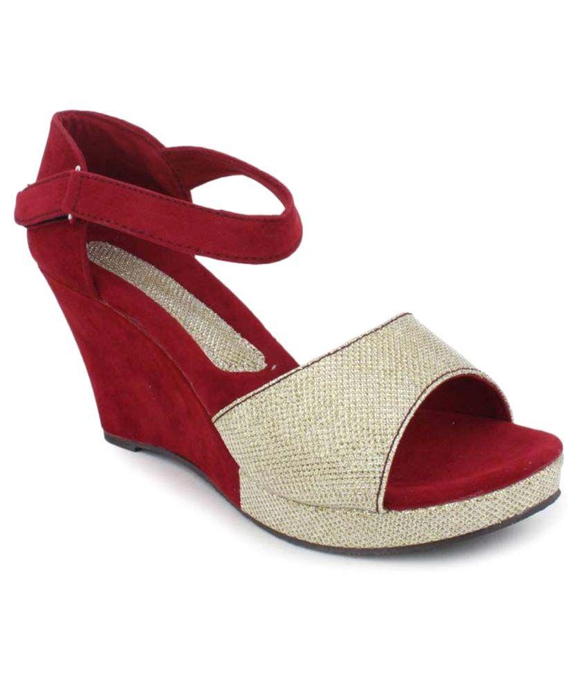 Alexus Red Wedges Heels