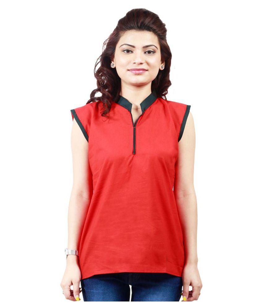 Z Hot Fashion Red Cotton Straight Kurti