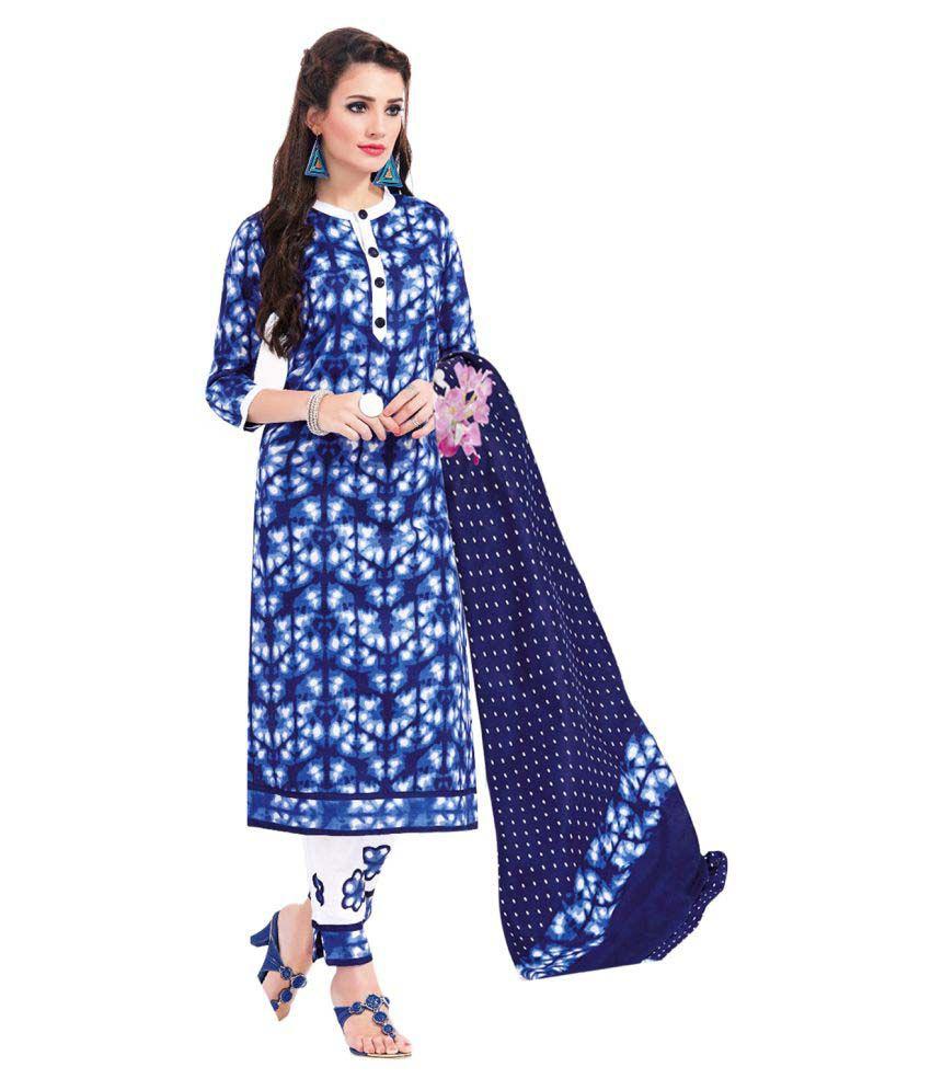 GVS Blue Cotton Dress Material