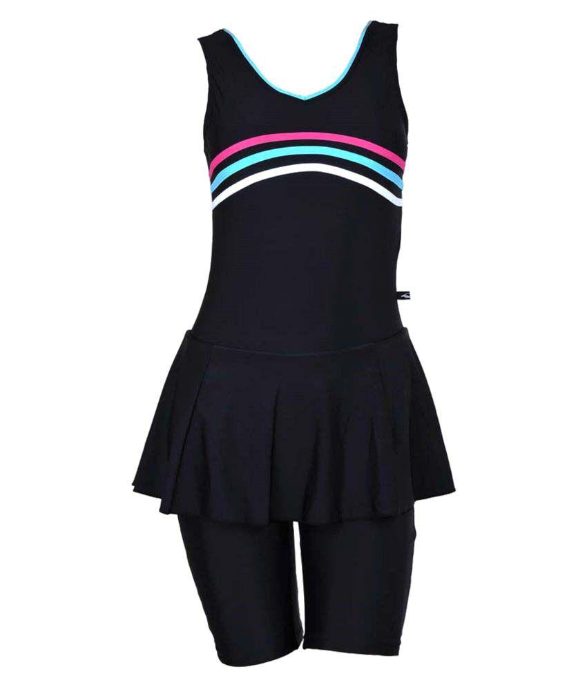 Branded Champ Nylon Spandex Women Swimwear Padded Sleeveless Frock with Half length shorts