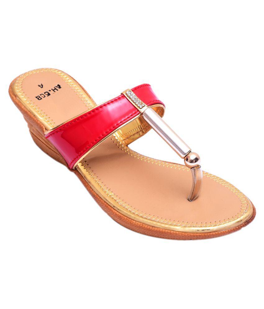 Desi Veedesi Red Wedges Heels