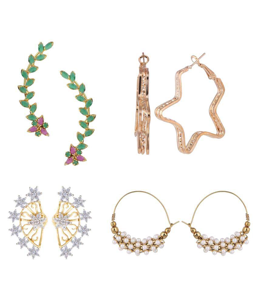 Efulgenz Multi Color Alloy Combo Of Earrings
