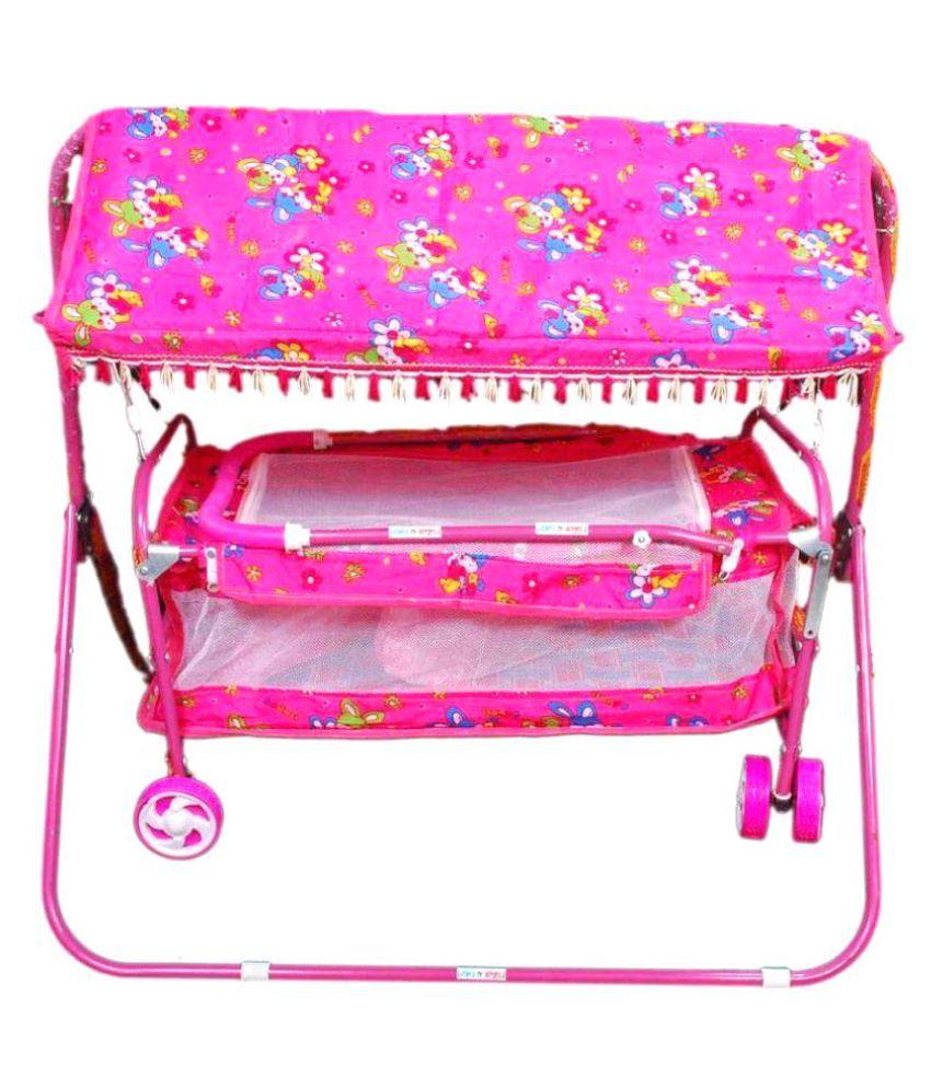 GTB Pink Jhula with Hood-6 Wheel