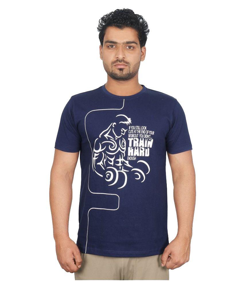 Vector X VTC-003-B Men's Round Neck Navy Blue Cotton T-Shirt