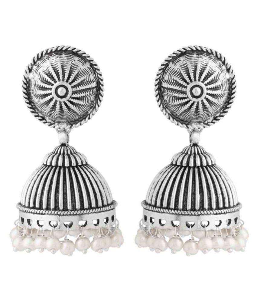 Voylla Jhumki Earrings Dangled With Pearl Beads For Women