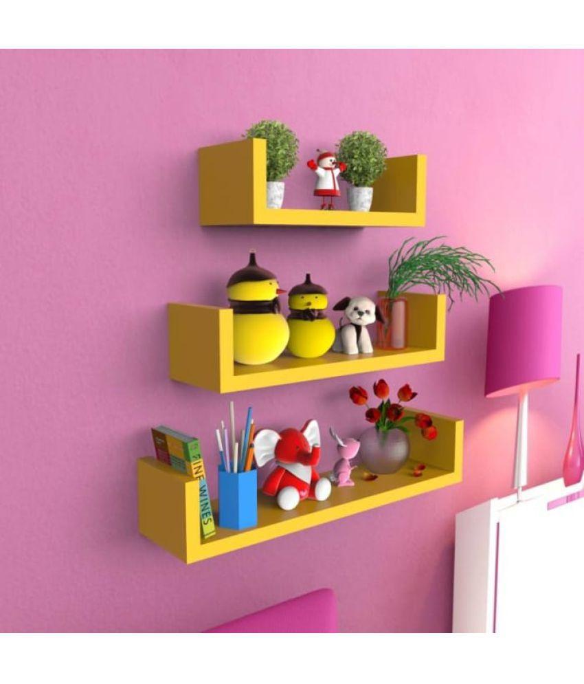 onlineshoppee floating shelf wall shelf book shelf storage shelf decoration shelf yellow