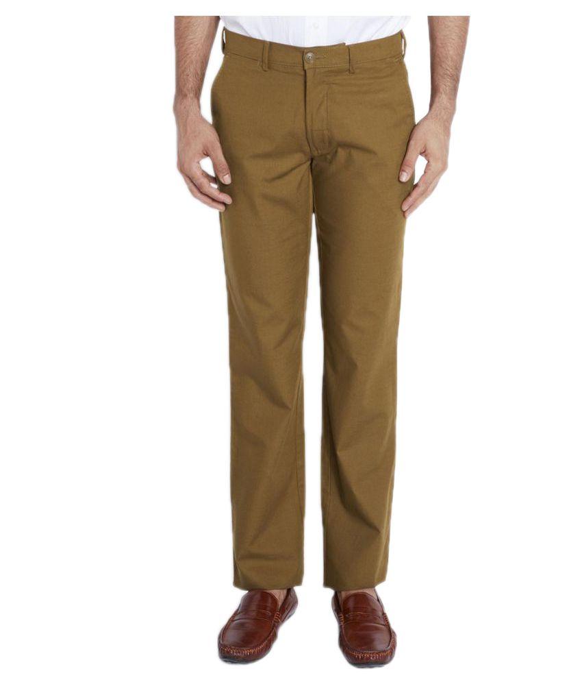 Colorplus Brown Regular Flat Chinos