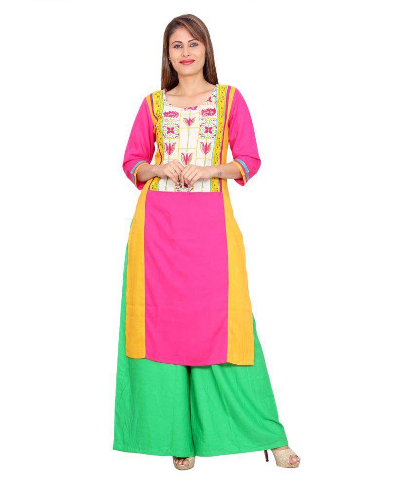Avanya Multicoloured Rayon Straight Kurti