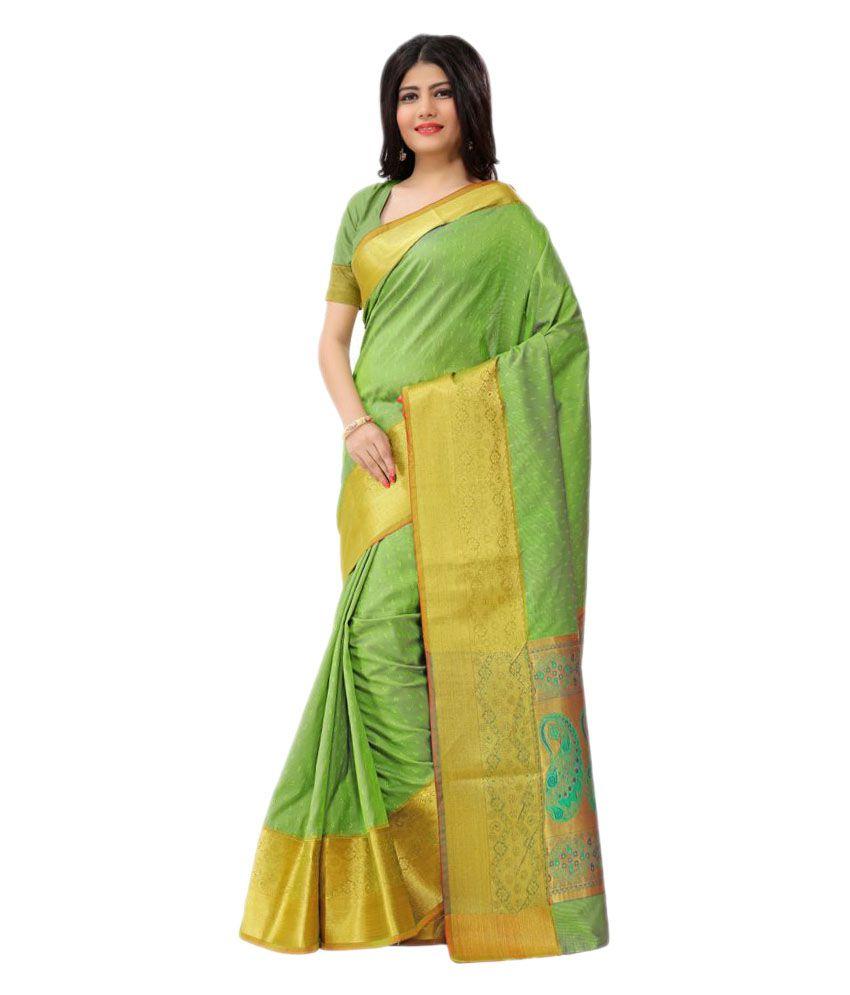 Just Fashion Green and Yellow Art Silk Saree