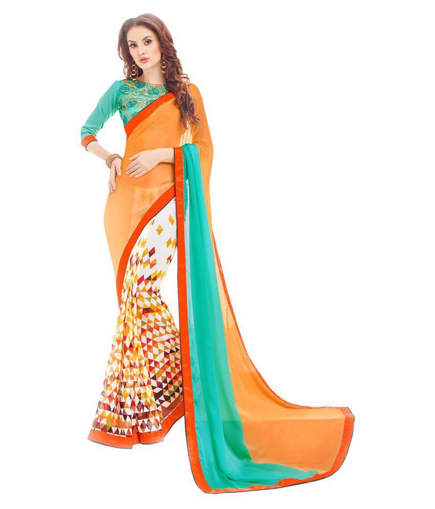 Shaily Retails White and Orange Georgette Saree