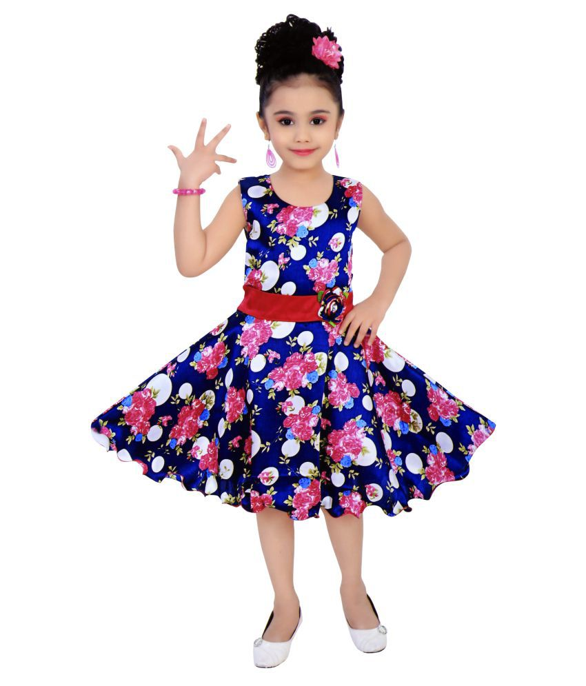 61b83c69e Benkils Cute Fashion Baby Girls Dress for Princess Satin Flower Print Party  Wear Frock