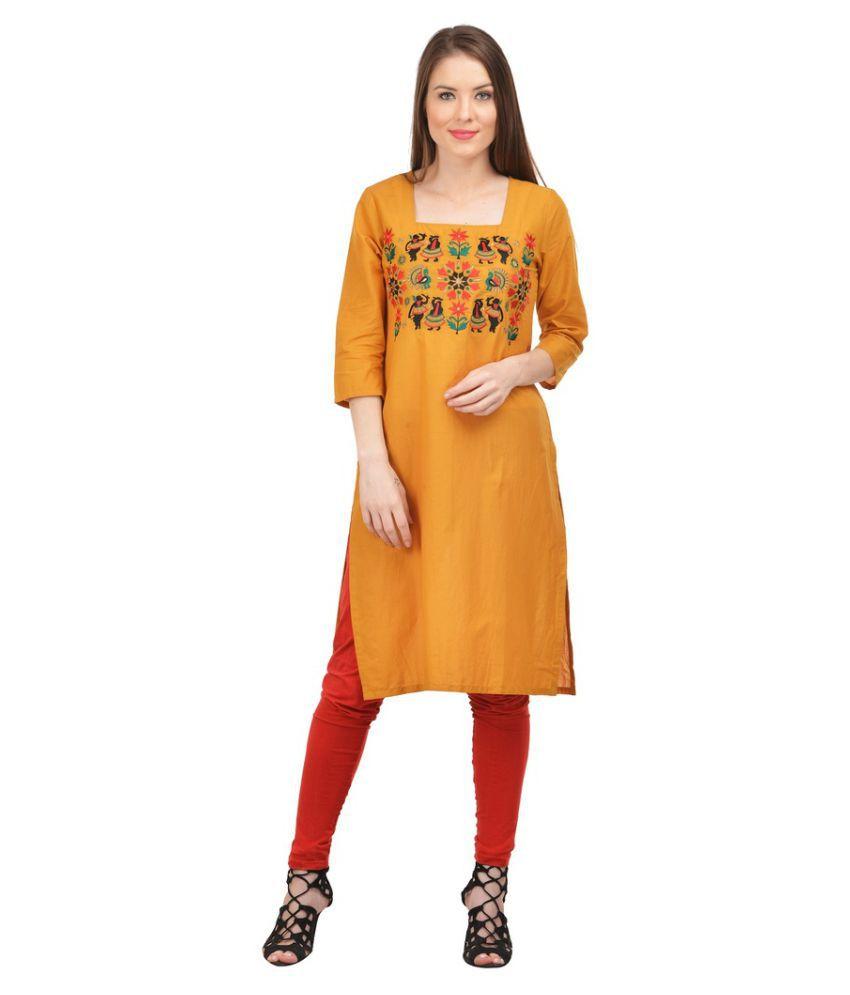 Zohya Yellow Cotton Straight Kurti