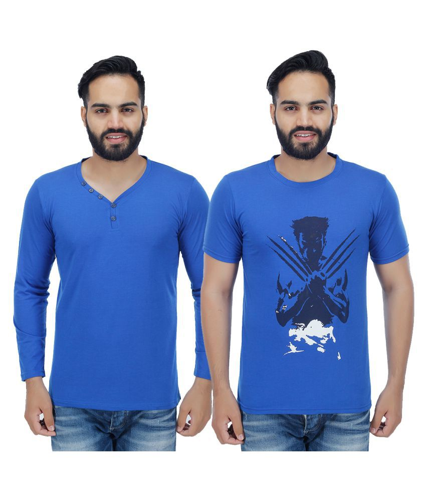 Candy House Blue V-Neck T-Shirt Pack of 2