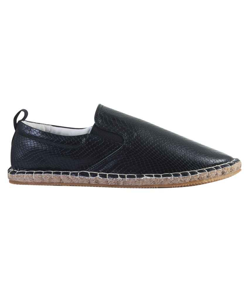572fe49c1 ... Zobello Faux Leather with Side Elastic Espradrilles Black Casual Shoes  ...
