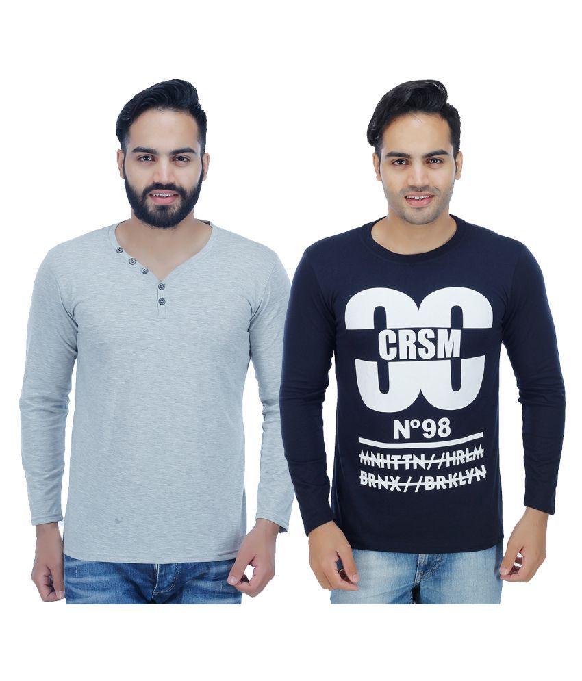 Christy World Multi Henley T-Shirt Pack of 2