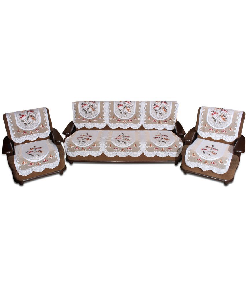 Yellow Weaves 5 Seater Polyester Set of 6 Sofa Cover Set