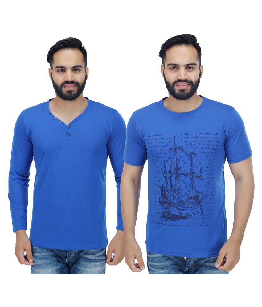 Sanvi Traders Blue Round T-Shirt Pack of 2