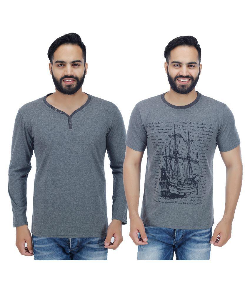 Sanvi Traders Grey Henley T-Shirt Pack of 2