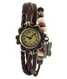 Brosis Deal Unique Designer Vintage Leather Brown Butterfly Bracelet Watch For Girls And Women