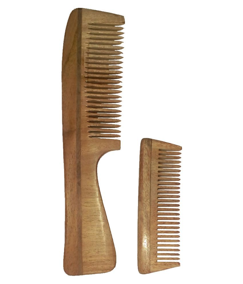 GINNI NEEM WOOD COMB Styler Pack of 2