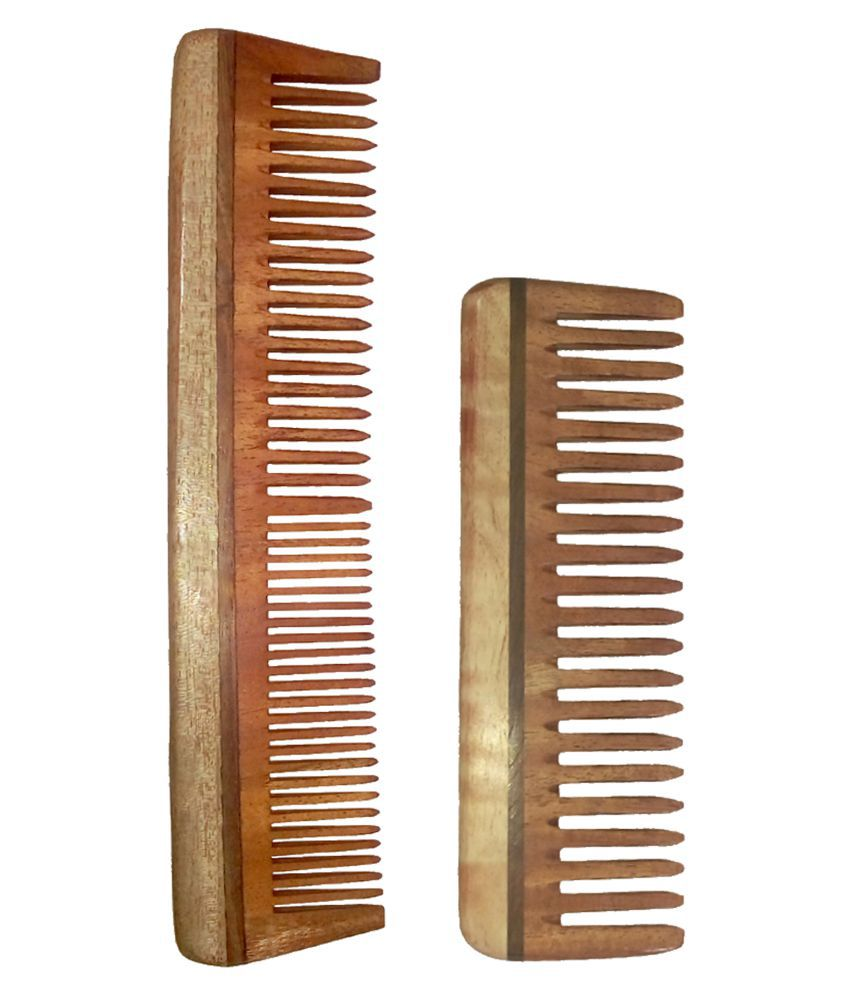 GINNI NEEM WOOD COMB Wide Tooth Comb Pack of 2