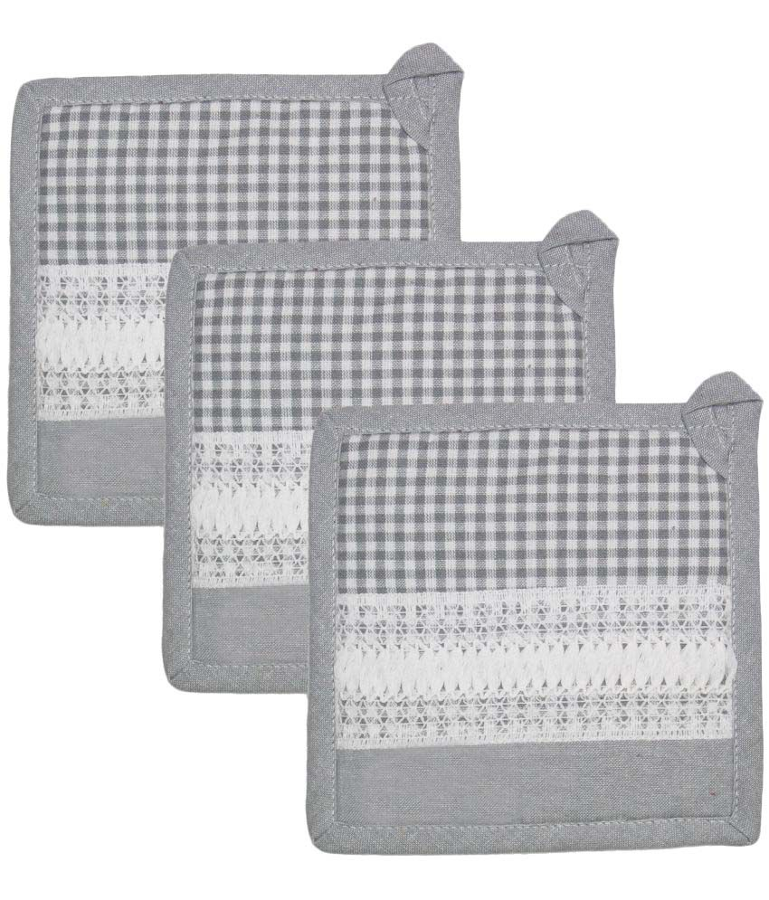Airwill, Cotton Designer Kitchen Linen Set of Oven Pot Holders (Pack of 3 pcs).