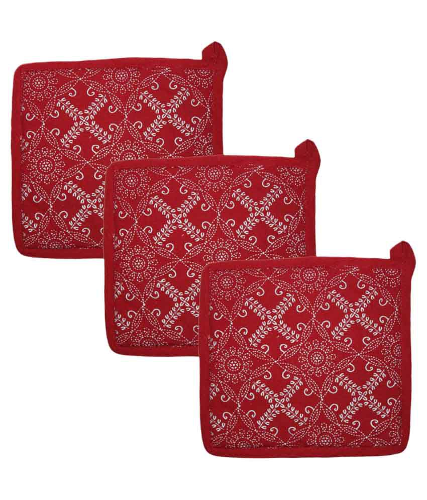 Airwill, Cotton Designer Kitchen Linen Set of Oven Pot Holders - Pack of 3