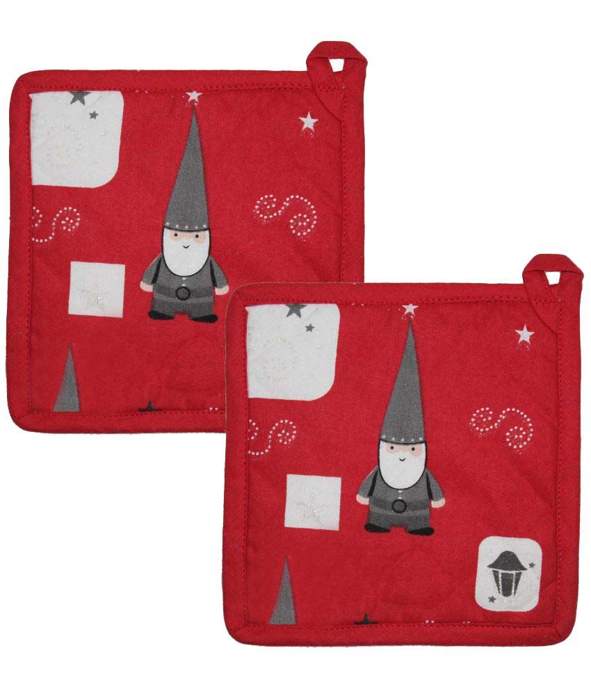 Airwill Red Cotton Printed Pot Holders - Set of 2