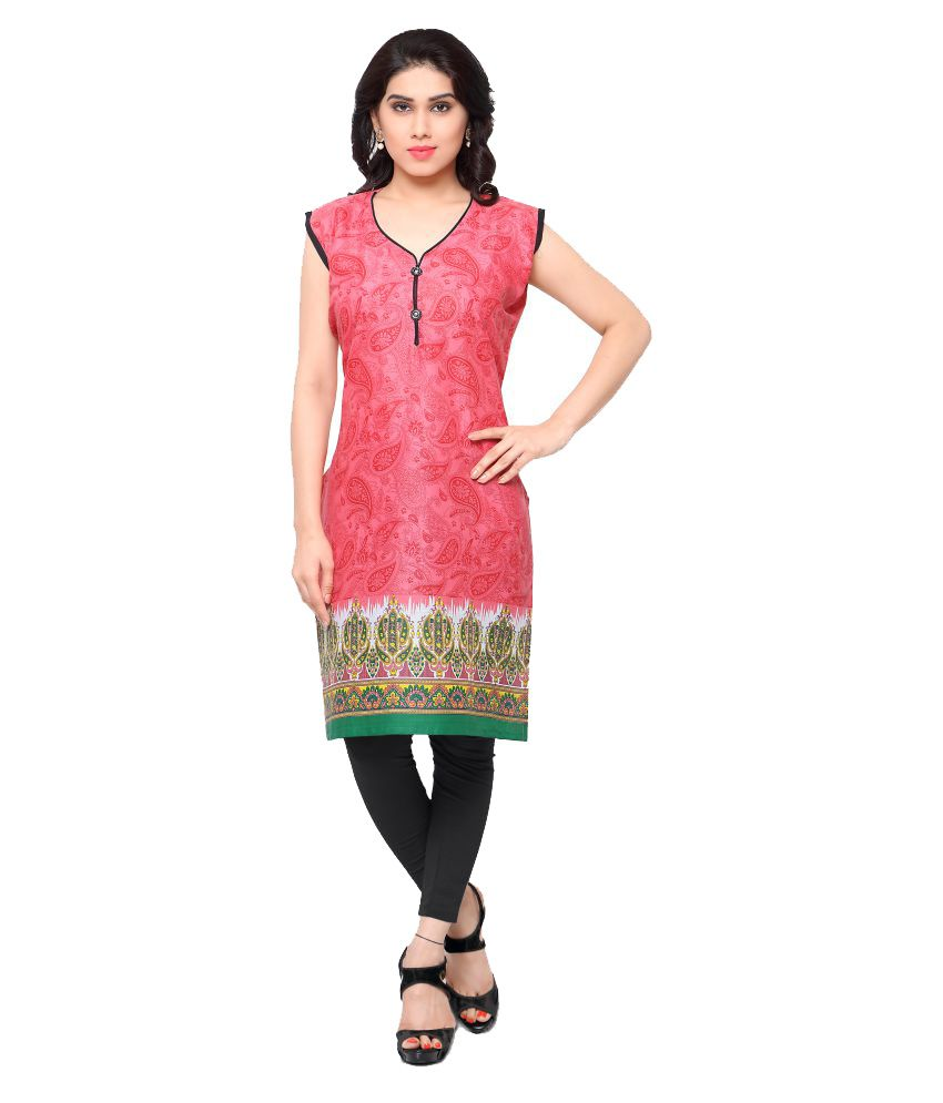 Womaniya Online Pink Cotton Straight Kurti