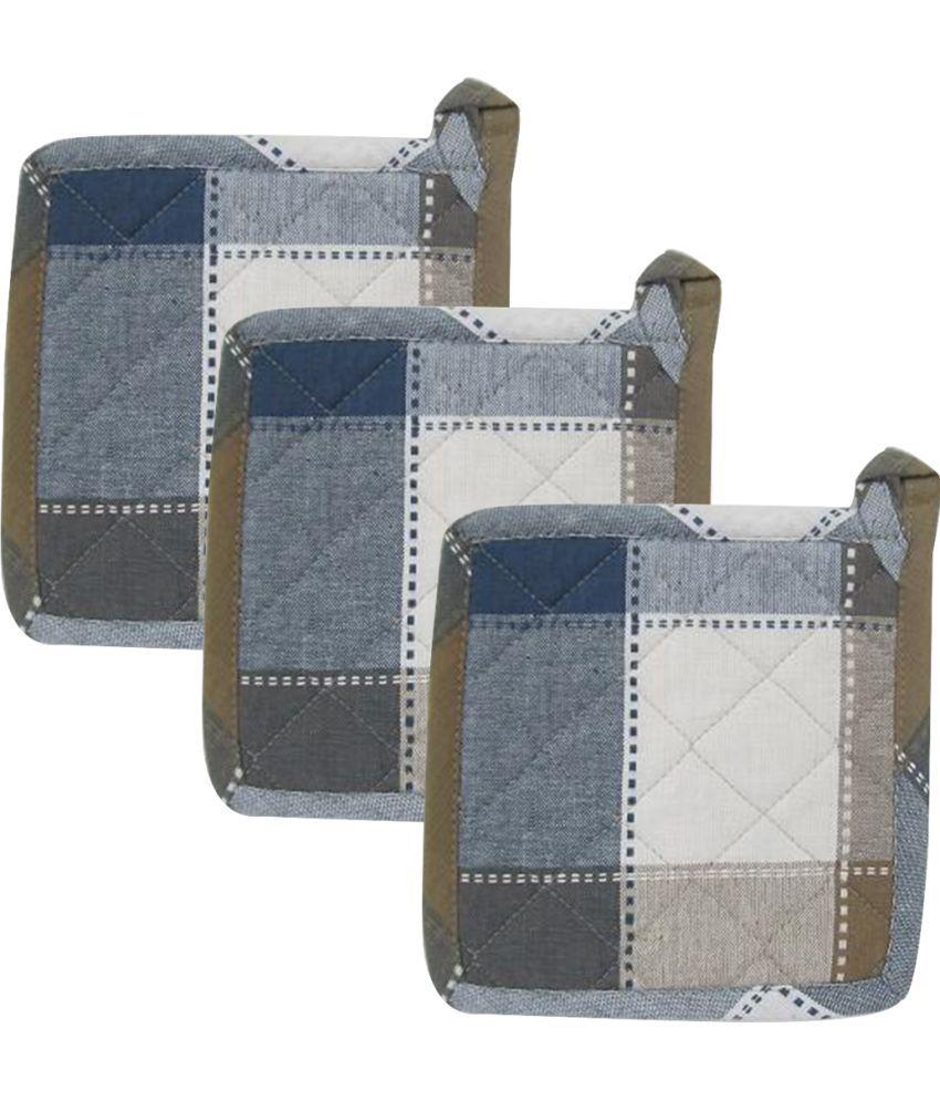 Airwill Cotton Designer Kitchen Linen Set of Oven Pot Holders (Pack of 3)